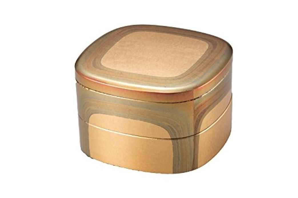 魅了するエイリアス校長箔一 重箱 ゴールド 145×145×100mm 古代箔 くつわ二段重 A131-08005
