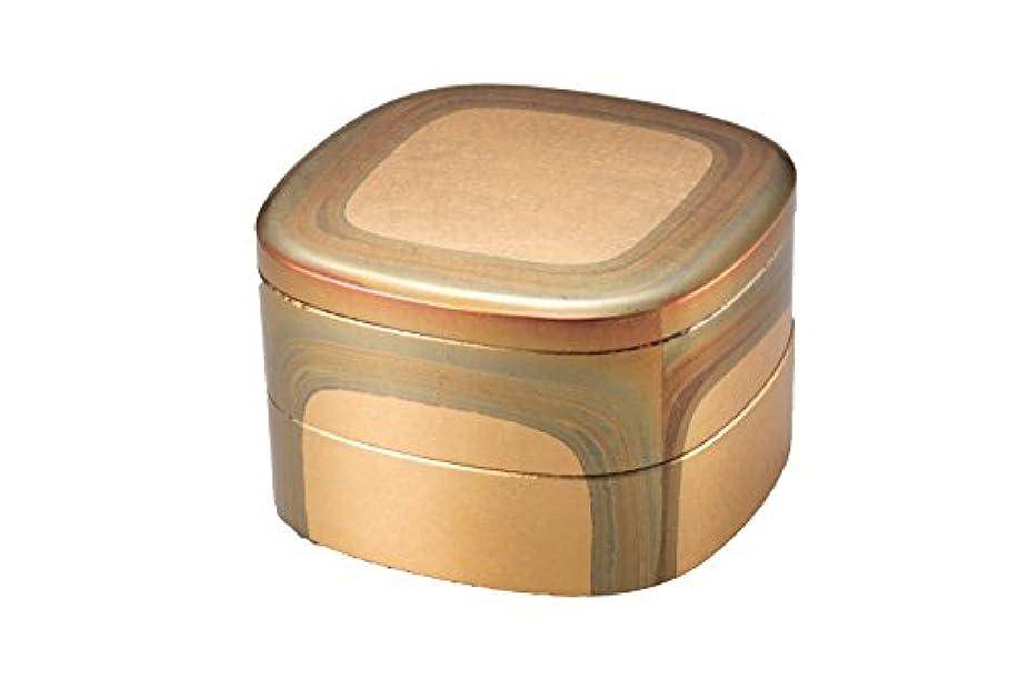 オレンジカード意外箔一 重箱 ゴールド 145×145×100mm 古代箔 くつわ二段重 A131-08005