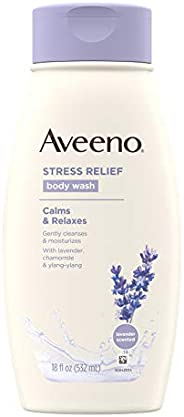 Aveeno Stress Relief Body Wash with Soothing Oat, Lavender, Chamomile & Ylang-Ylang Essential Oils, Dye- &