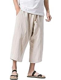 KAJIKAJI サルエルパンツ メンズ 薄手 イズ 夏服 メンズ サルエルパンツ メンズ ズボン 袴パンツ ワイドパンツ サルエル ファッション 棉麻 七分丈 無地 調整紐 ゆったり 大きいサイズ 夏 ゆったり