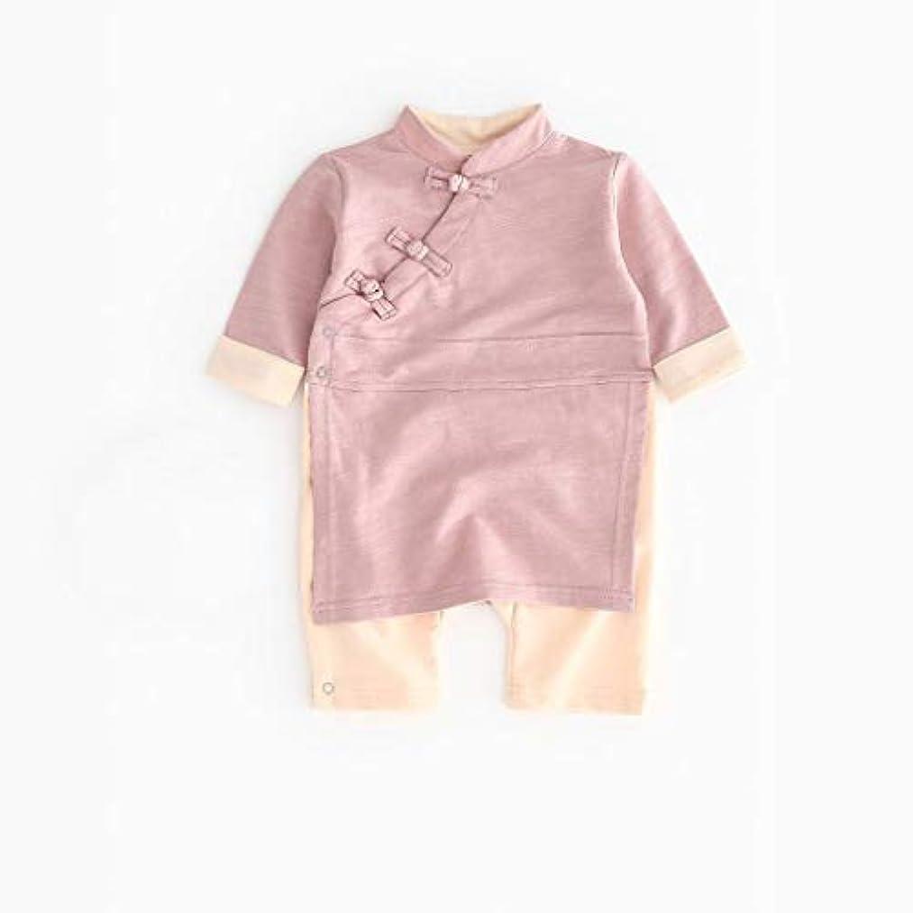不良品実質的船酔いかわいいボタン漢風生まれたばかりの赤ちゃん男の子女の子ボタン固体ロンパースジャンプスーツ着物服パジャマ女の子男の子レターストライプ長袖コットンロンパースジャンプスーツ