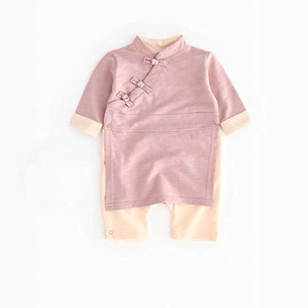 第二マリン愛するかわいいボタン漢風生まれたばかりの赤ちゃん男の子女の子ボタン固体ロンパースジャンプスーツ着物服パジャマ女の子男の子レターストライプ長袖コットンロンパースジャンプスーツ