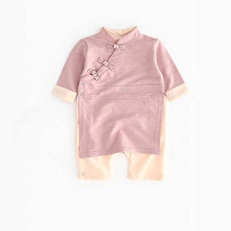 作る意識的半径かわいいボタン漢風生まれたばかりの赤ちゃん男の子女の子ボタン固体ロンパースジャンプスーツ着物服パジャマ女の子男の子レターストライプ長袖コットンロンパースジャンプスーツ