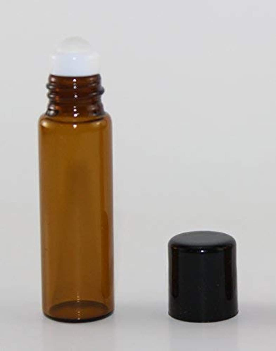 USA 72 Amber Glass 5 ml Roll-On Glass Bottles with GLASS Roller Roll On Balls - Refillable Aromatherapy Essential...