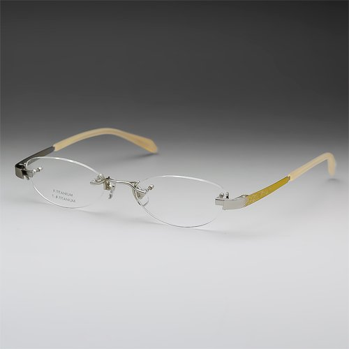 サバエワークス パソコン用メガネ (度数+0.00) PCメガネ ふちなし ツーポイント 日本製 チタン フォックス (NT539 シルバー) 49□18-140 男性 女性 HOYA(ブルーカット) 薄型非球面レンズ ケース付 度なし 眼鏡セット