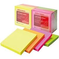 オフィスデポ オリジナル 粘着メモ ノートサイズ ネオン 76×76mm 1箱(12冊×18パック)