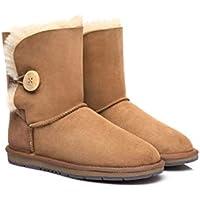 UGG Boots Australia Premium Double Face Twinface Sheepskin Short Mid Calf Women's Bailey Button Boots Water Resistant Winter Shoes