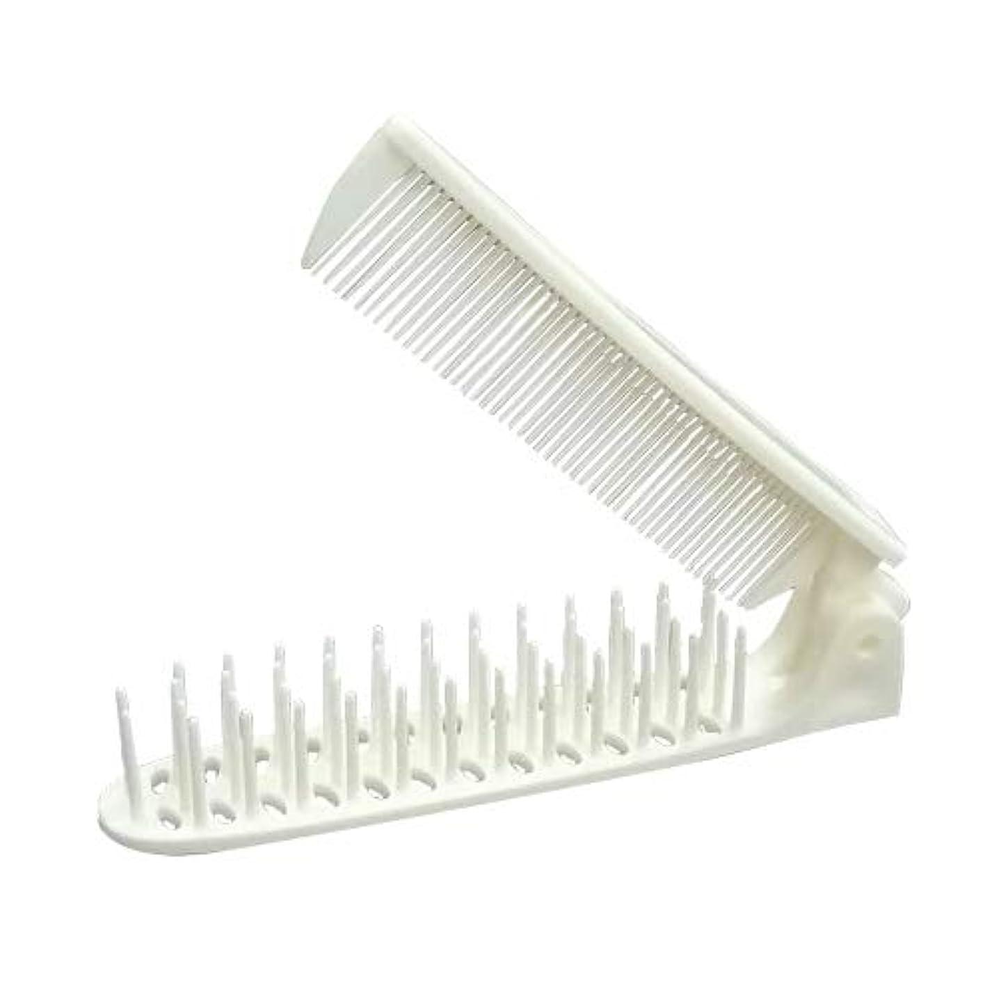 苦行椅子羊のホテルアメニティ 使い捨てヘアブラシ 個包装タイプ 業務用 コーム付折りたたみブラシ ×5個セット (コーム&スリムヘアーブラシ 2WAYTYPE)