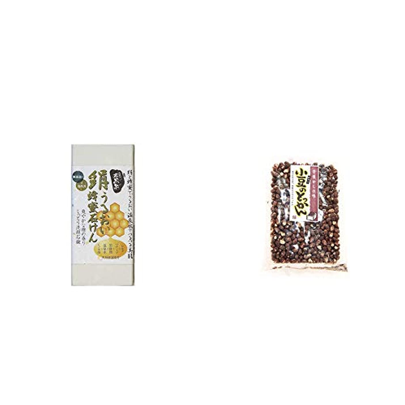 むしゃむしゃ生き残り立ち寄る[2点セット] ひのき炭黒泉 絹うるおい蜂蜜石けん(75g×2)?小豆のとっかん(150g)