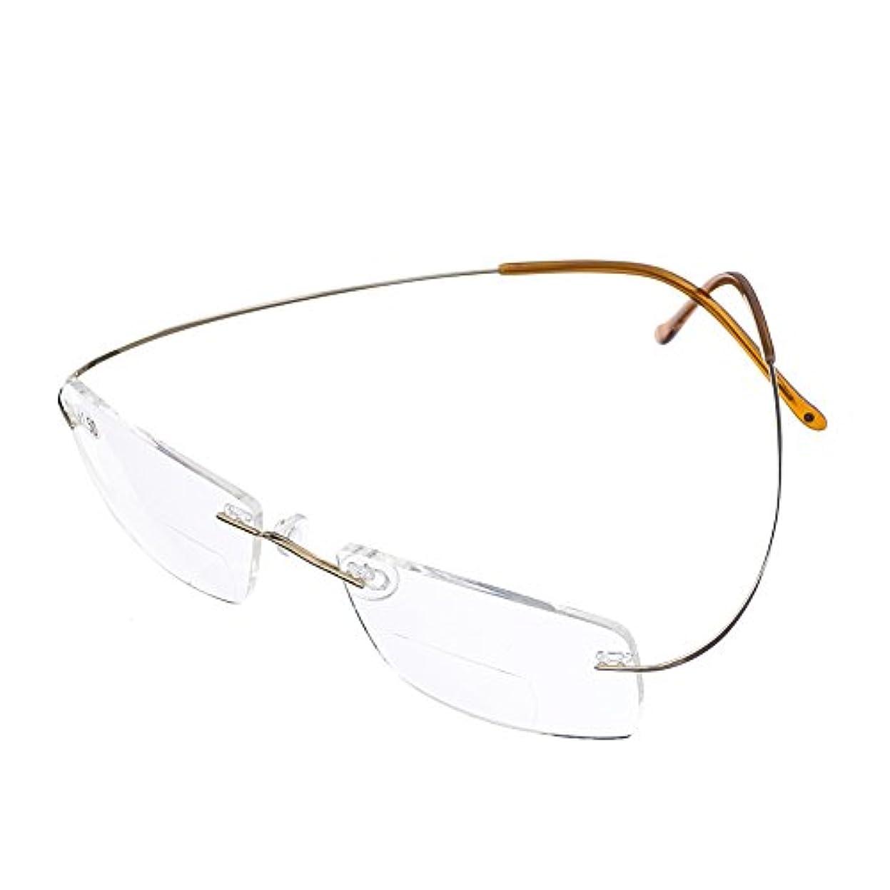 チタン 縁(フチ)なし リーディンググラス シニアグラス 遠近両用メガネ 老眼鏡 男 女 兼用 メンズ レディース