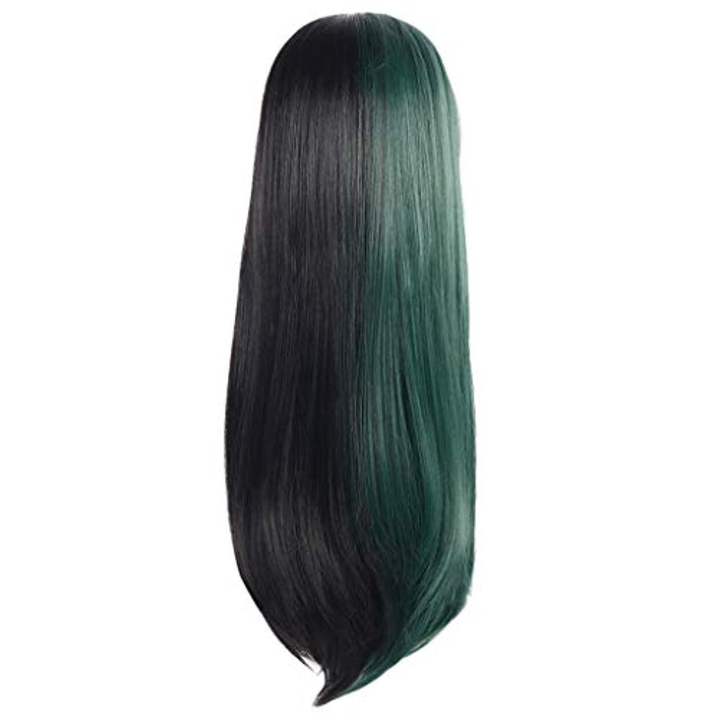 女性の長いストレートの髪黒緑のかつら創造的な性格かつらローズネット