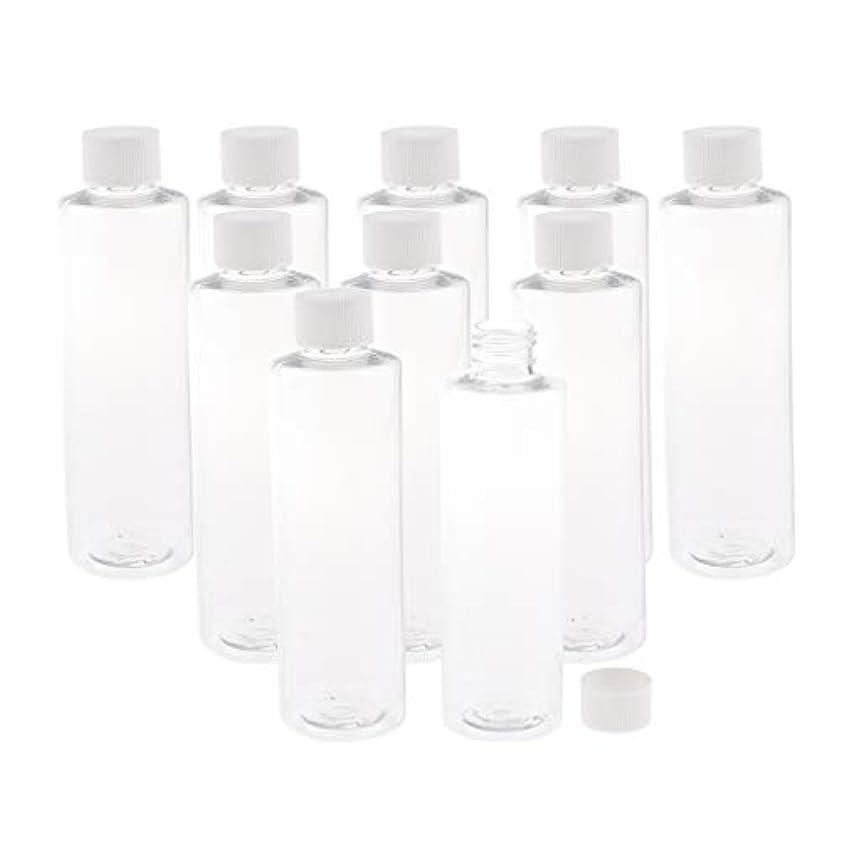 教授半球リフトSM SunniMix プラスチック製 透明ボトル スクリュートップ キャップ付き 空のボトル 200ミリリットル 3色選ぶ - ホワイトキャップ