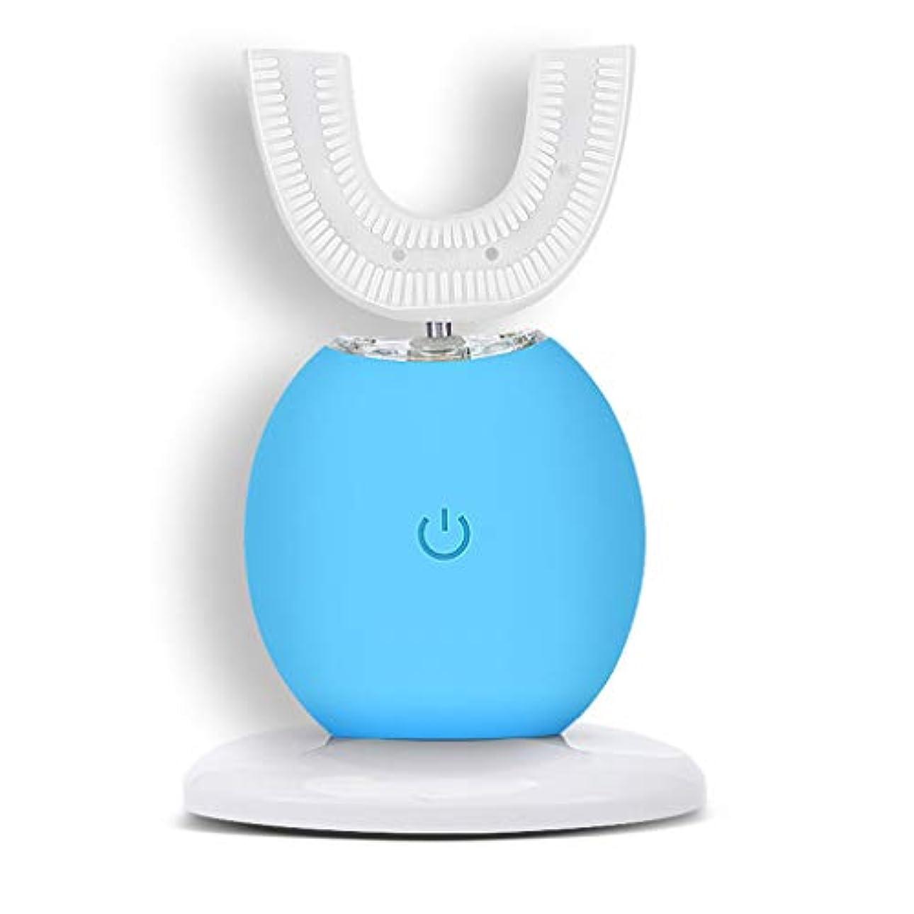 ストレッチあたり左自動電動歯ブラシインテリジェント超音波ホワイトニング防水カップルブレース怠惰なブラッシングアーティファクト (色 : 青)