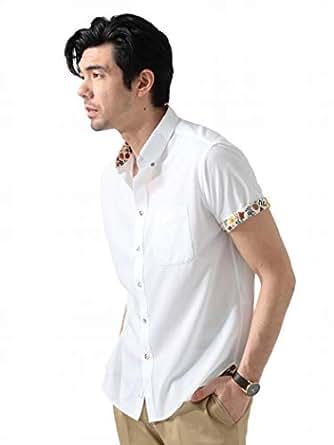 (ビームスライツ)BEAMS LIGHTS/半袖シャツ/セオアルファ (R) リバティ切り替え ボタンダウンシャツ メンズ WHITE S