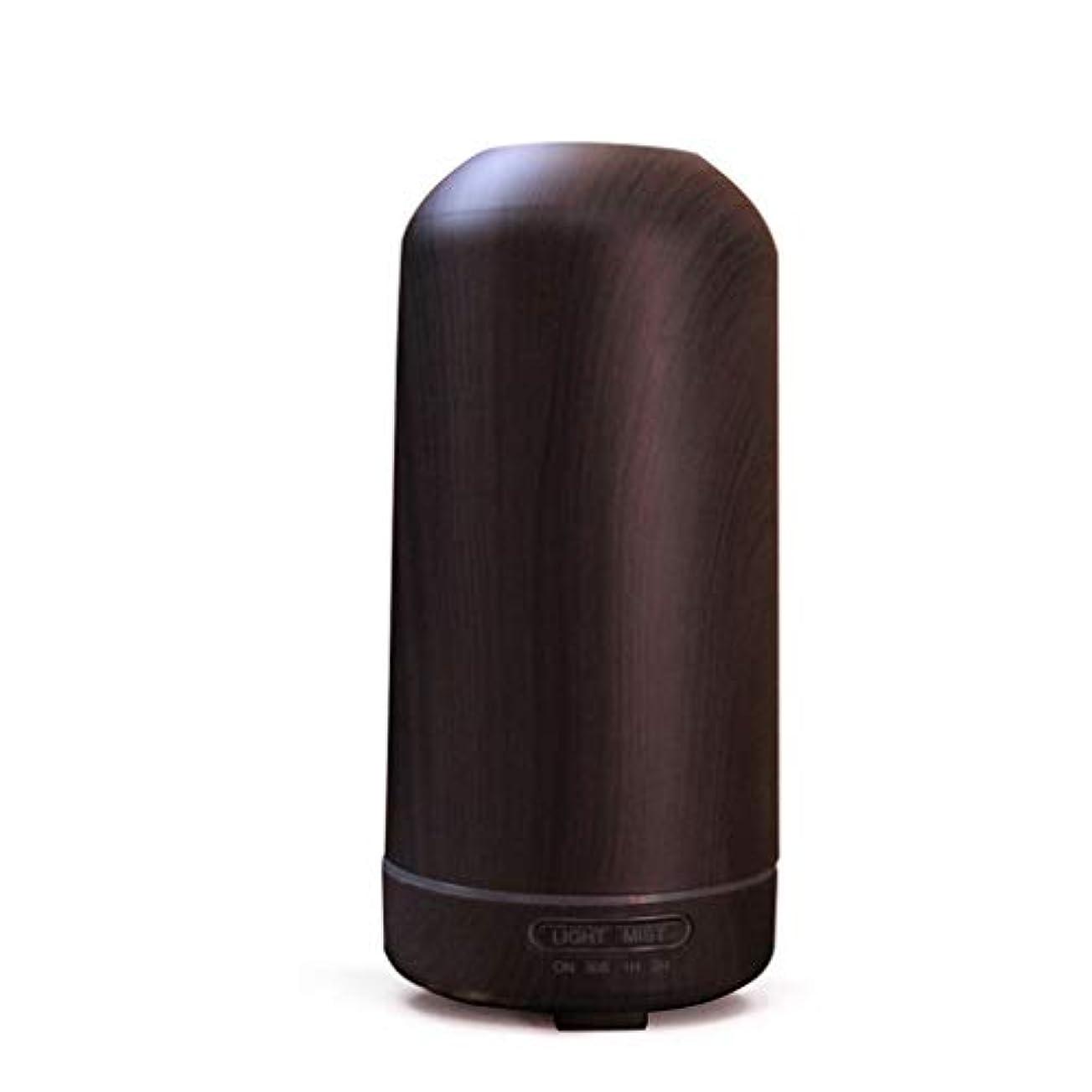 地下鉄評価かんたん100ミリリットル超音波クールミスト加湿器カラーLEDライト付きホームヨガオフィススパ寝室ベビールーム - ウッドグレインディフューザー (Color : Dark wood grain)