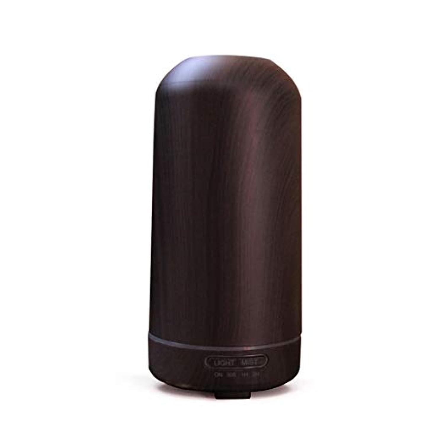 入り口誓約学者100ミリリットル超音波クールミスト加湿器カラーLEDライト付きホームヨガオフィススパ寝室ベビールーム - ウッドグレインディフューザー (Color : Dark wood grain)