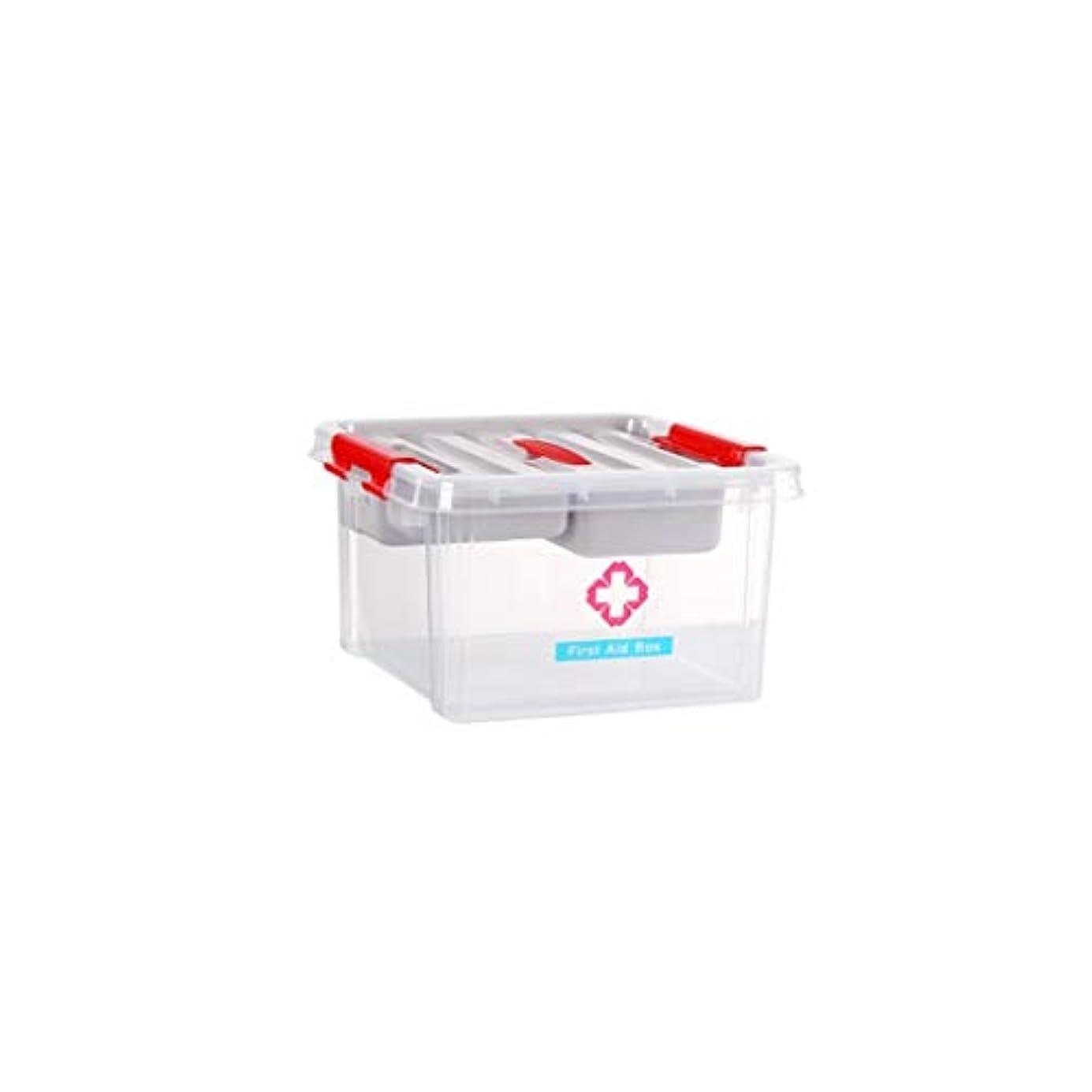 グリースコールド調整する家庭用薬収納ボックス多層医療箱携帯用薬箱プラスチック救急箱28.5×28.5×16cm GBYGDQ (Color : Clear)
