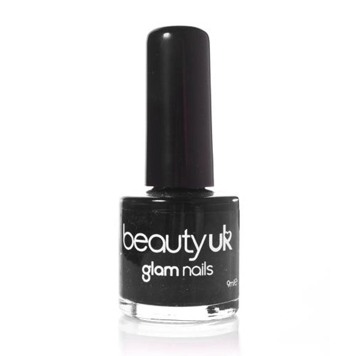 達成するヒール開いたBeauty Uk Glam Nails No6 Black 9ml [並行輸入品]