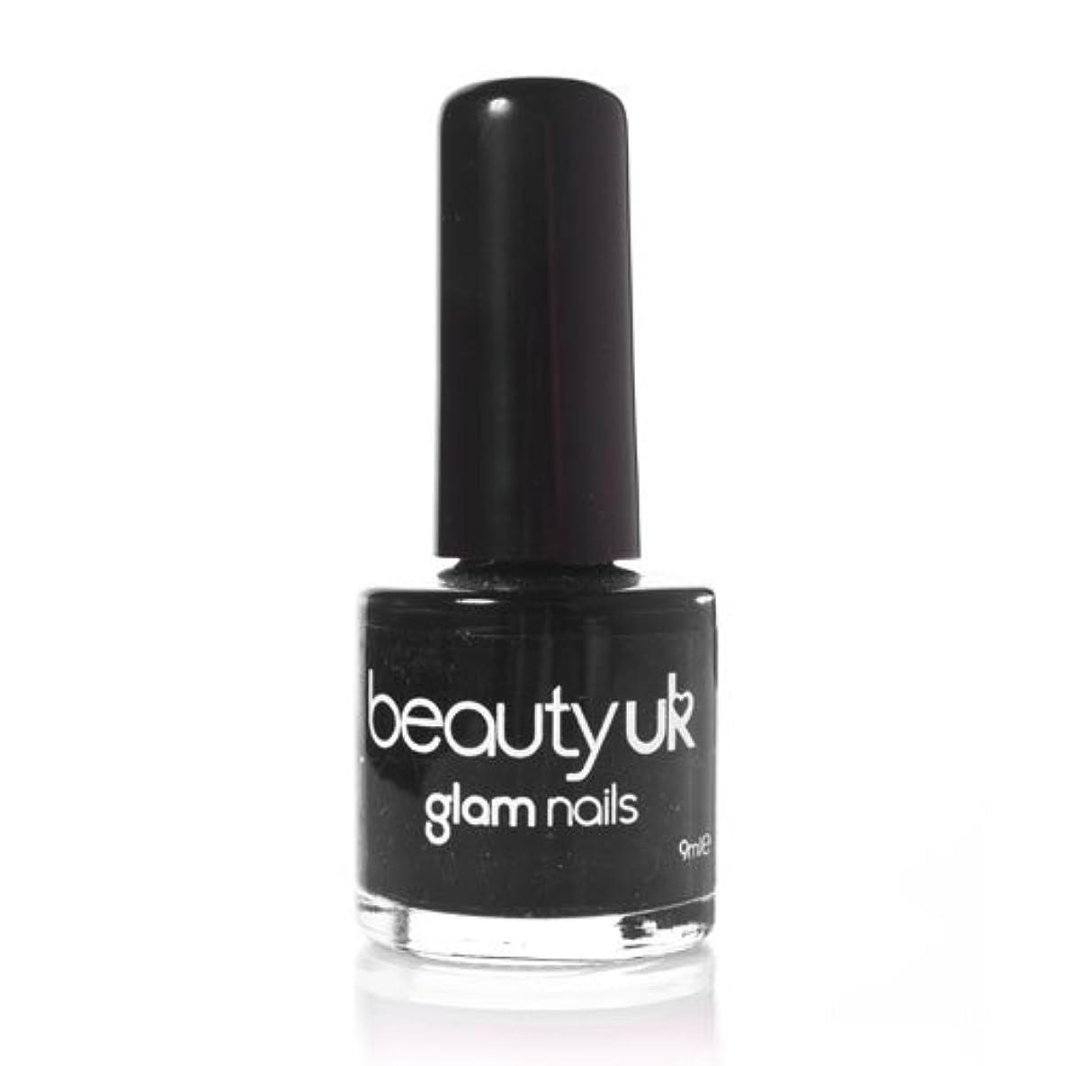 柔らかい足つかの間啓示Beauty Uk Glam Nails No6 Black 9ml [並行輸入品]