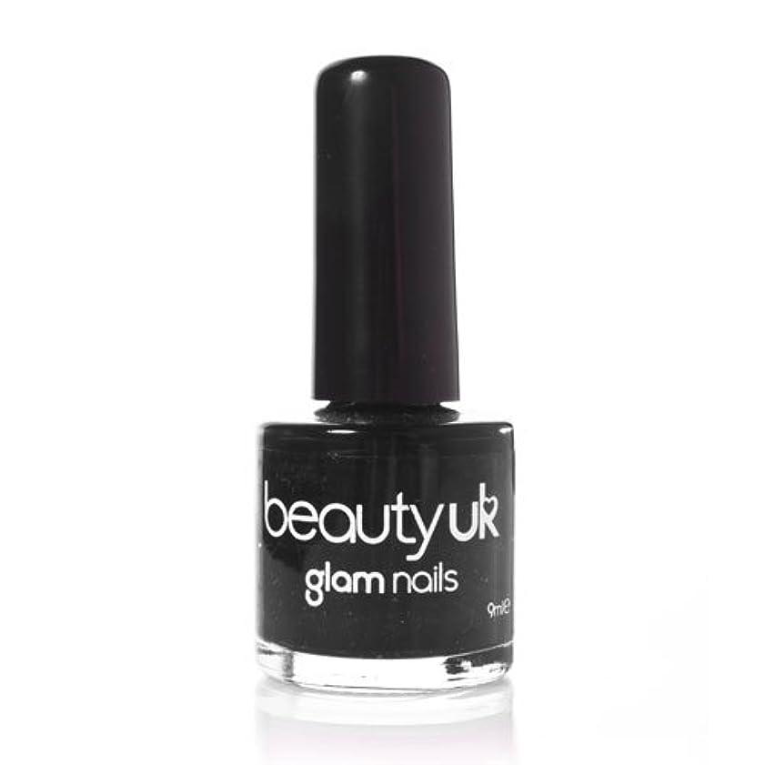 見かけ上ビット赤道Beauty Uk Glam Nails No6 Black 9ml [並行輸入品]