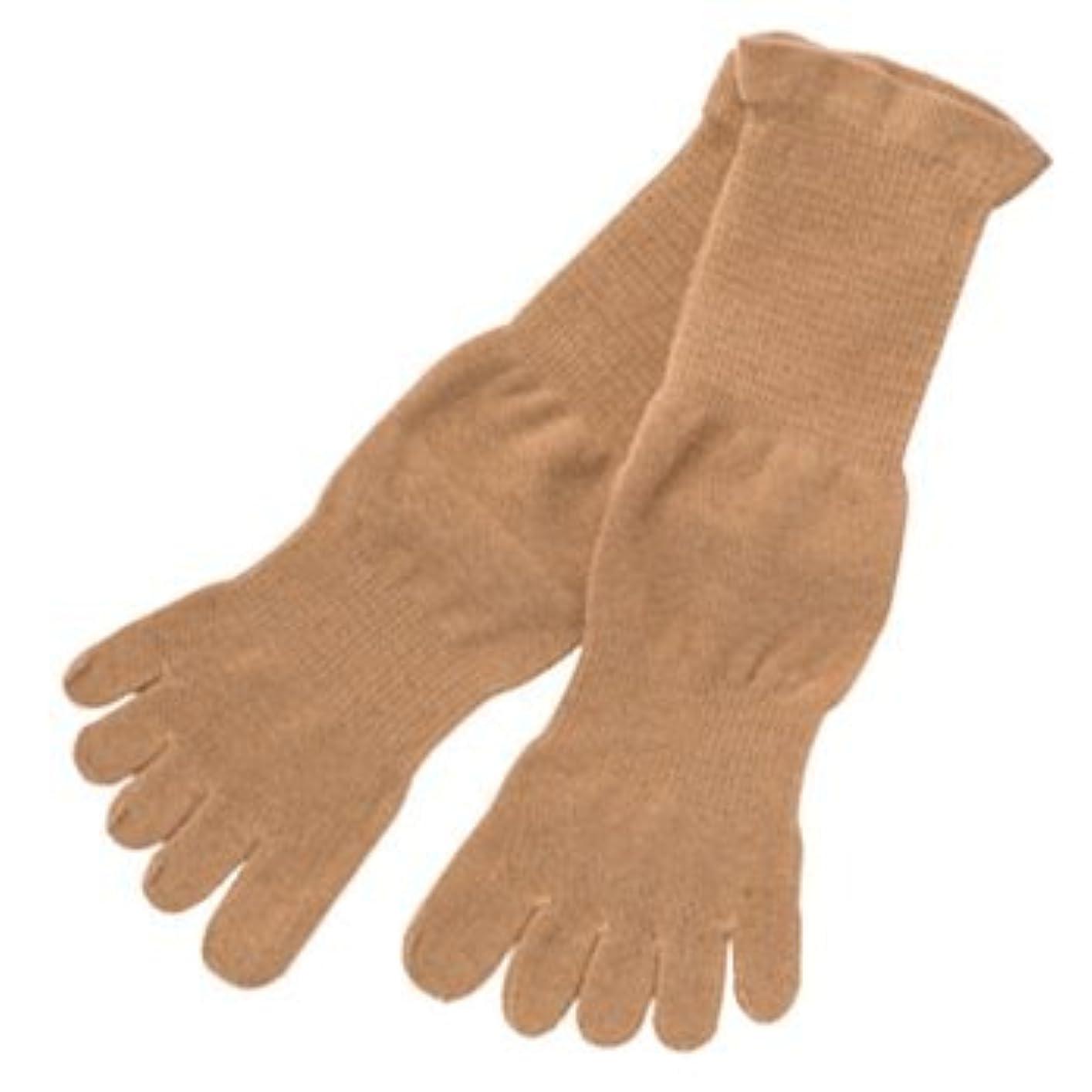 オーバーラン九時四十五分鉛筆五本指薄手ソックスMブラウン:オーガニックコットン100% 履くだけで足のつぼをマッサージし、健康に良いソックスです!
