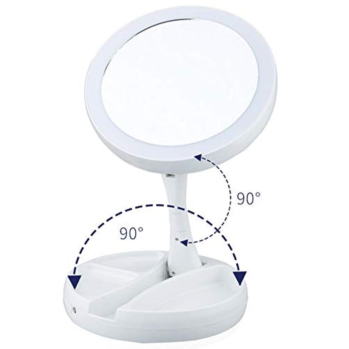 評価けん引途方もないコンパクト ミラー化粧鏡、10x虫眼鏡充電折りたたみ式底部ストレージ、バッテリー付きの360°回転蛍光灯とUSB充電 ミラー メイク