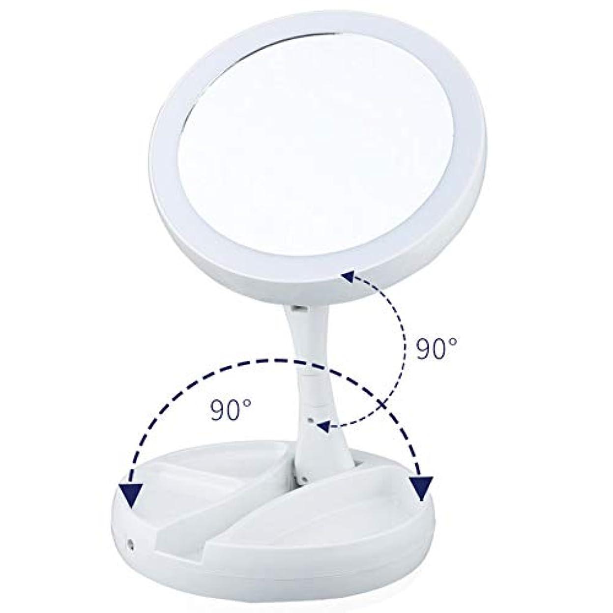 ランドリートレッド同化する化粧鏡、10x虫眼鏡充電折りたたみ式底部ストレージ、バッテリー付きの360°回転蛍光灯とUSB充電