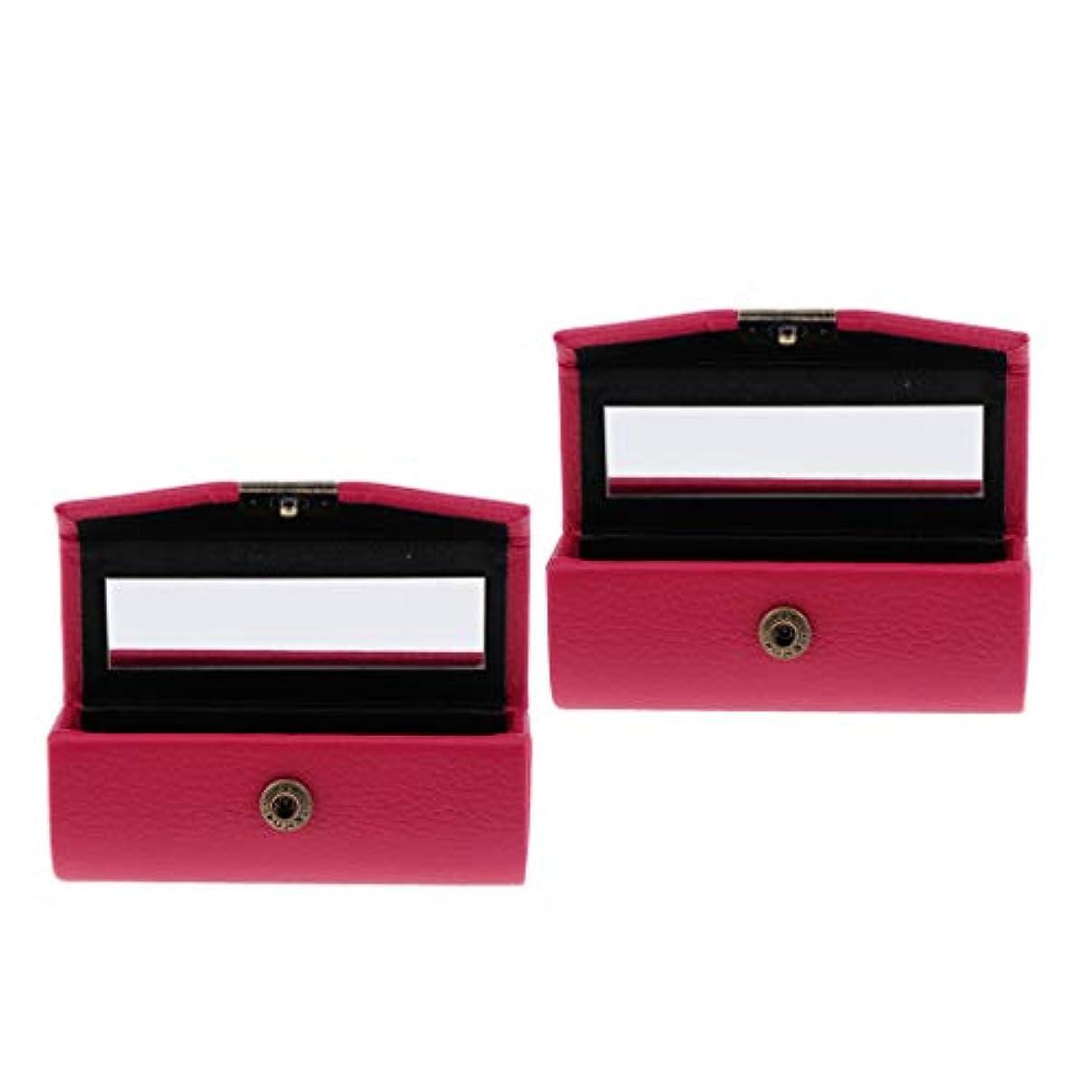 T TOOYFUL 口紅ケース リップスティックボックス ミラー付き PUレザー メイクアップ 収納ホルダー 全4種 - ローズレッド