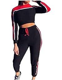 sayahe 女性の丸襟カジュアルスプライスのトレーニングは、カラートップの流行とズボンの衣装を打つ