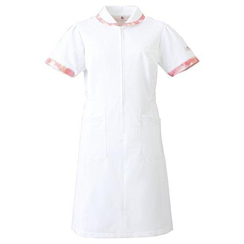 (FOLK) フォーク ワコール レディス ワンピース 女性用 診察衣 白衣 ナース服 (HI105) ホワイトXピンク 3L