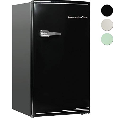 Grand-Line 冷蔵庫 85L 1ドア レトロ 冷凍冷蔵庫 オールドブラック ARD-85LB