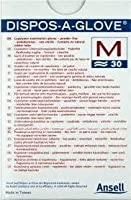 Ansell Dispos-A-Gloveラテックス無料検査用手袋x 30(15ペア) - ミディアム