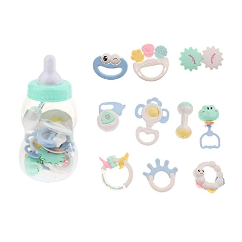 Baoblaze 全3種類 ベビー ラトル おしゃぶり 歯がため ガラガラ おもちゃ びん  ボックス 持つやすい - 10本入りボトルパッケージ