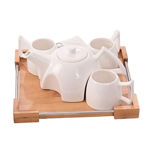ミニ磁器ティーセット - 紅茶、エスプレッソ、またはホワイトティーポット、4カップ、竹サービングトレイを含む水を飲むためのセラミックティーポットコーヒーカップセット