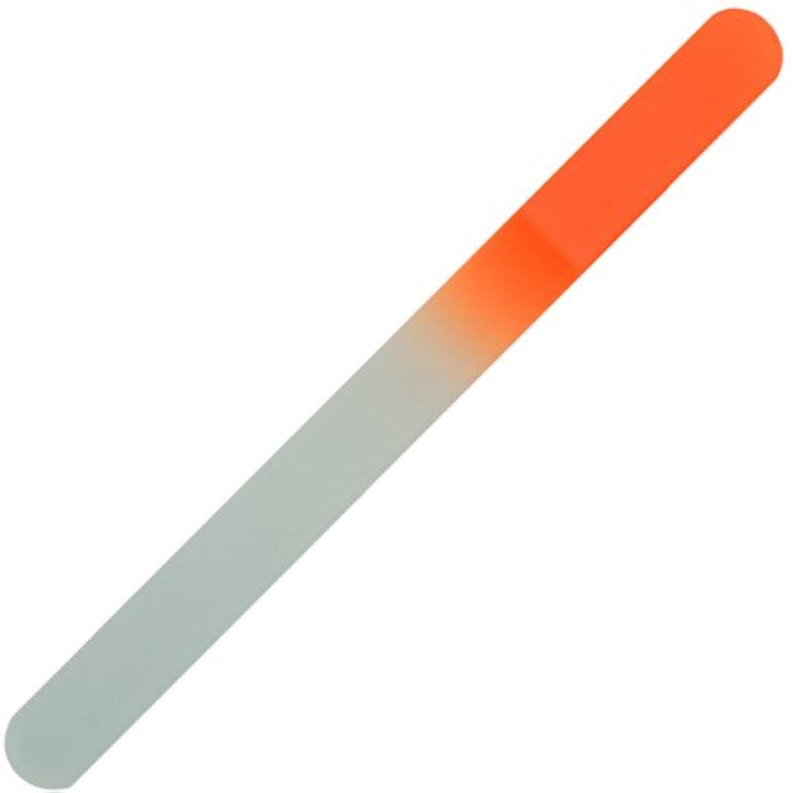 表面的な案件正確さチェコ の職人が仕上げた ガラス製 爪やすり 135mm 両面タイプ オレンジ  (透明ソフトケース入り)