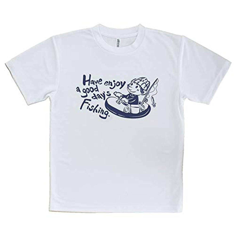 雄弁なタンパク質樫の木AnglersLife Tシャツ 釣りざんまい フローターボートアングラー_ネイビー United Athle(ユナイテッドアスレ) ホワイト 白 ポリエステル100% 4.1oz UTF30