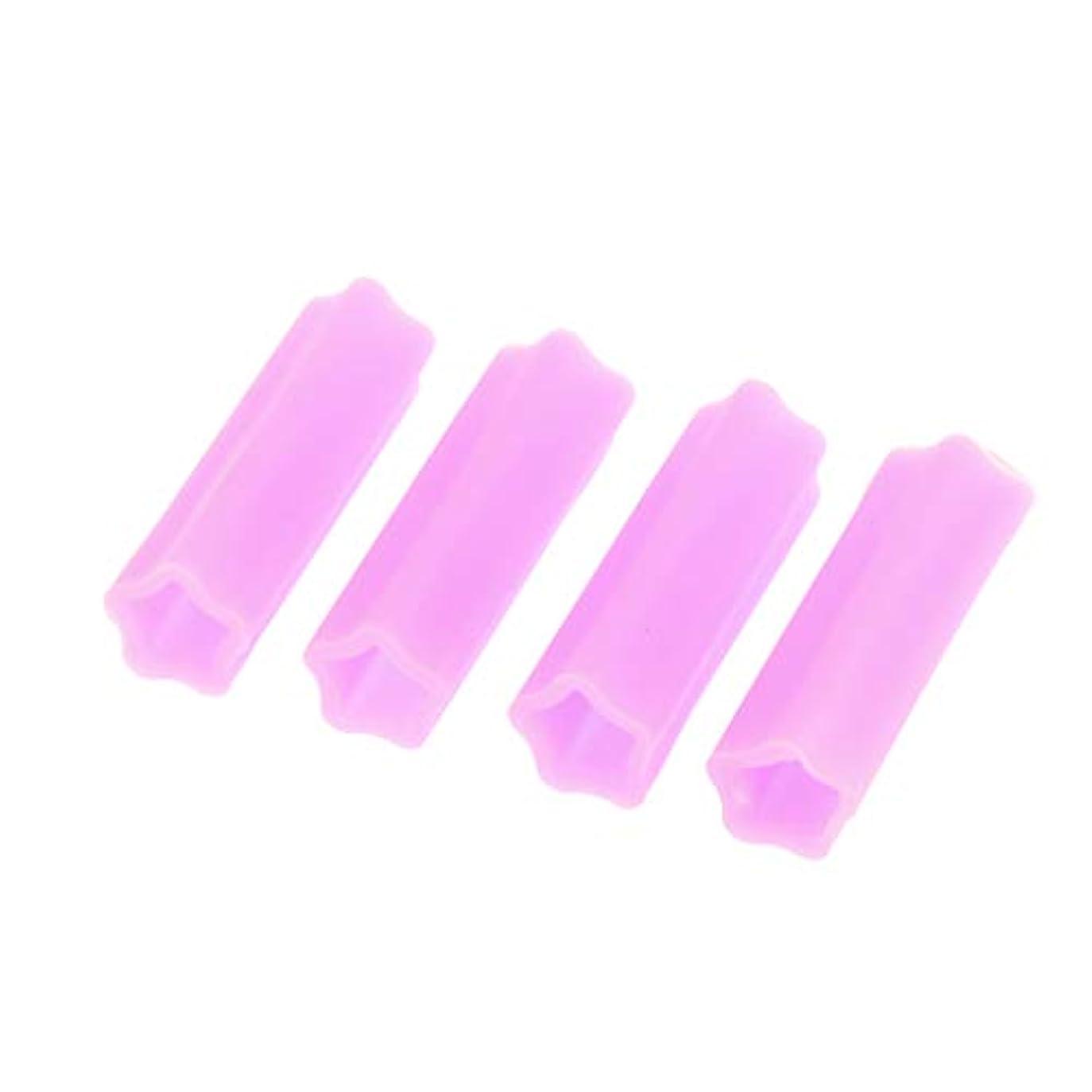 毛皮乞食ネーピアキューティクルニッパー保護カバー アクリルネイル用ツール ネイル道具 ケアツール 4個入り 全5色 - 紫の