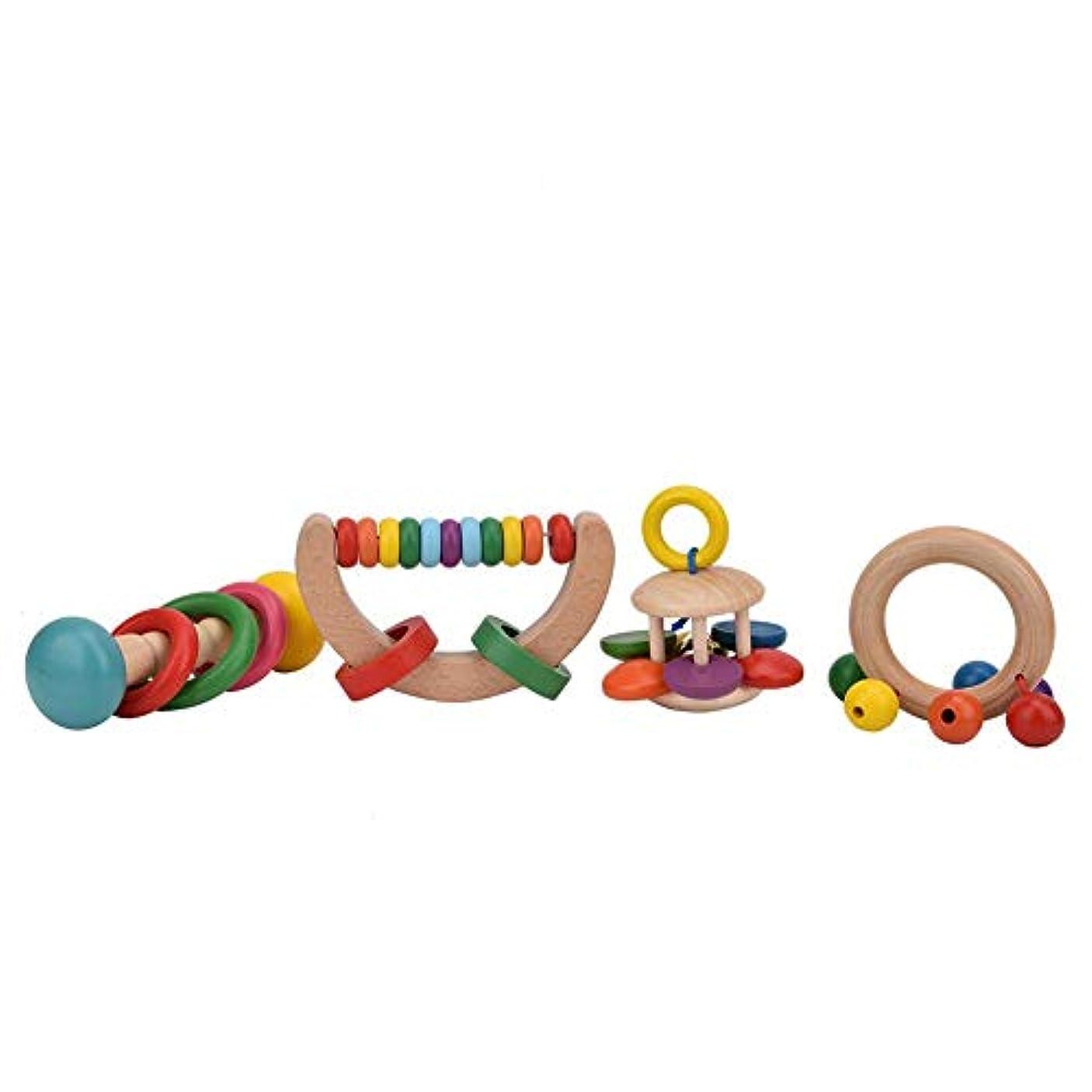 観察する撤退包帯初期の教育玩具、滑らかな表面4個の赤ちゃんガラガラセット、3歳以上の新生児にとって無毒で安全