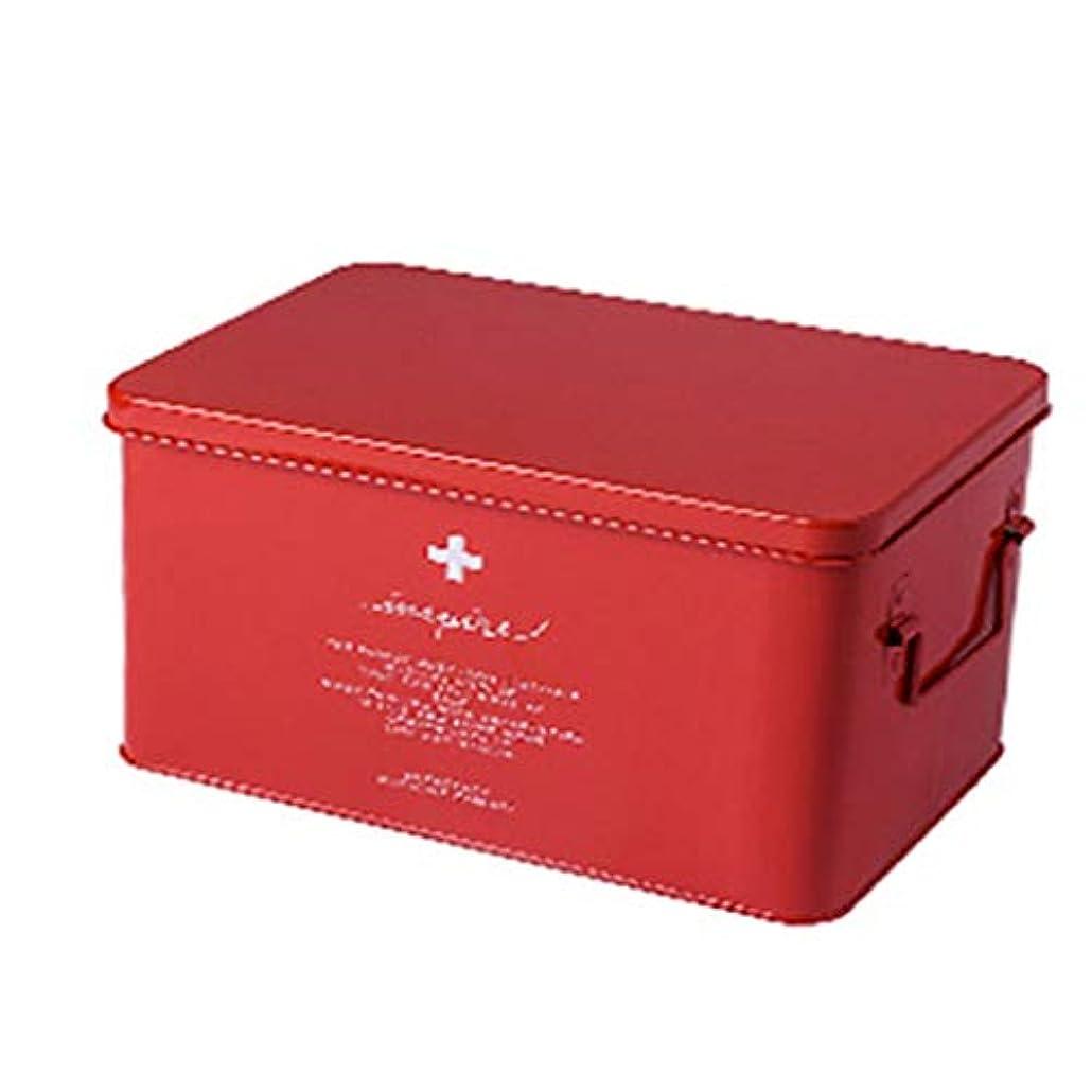バース投獄聖書医療ボックス収納ボックス金属応急処置キット取り外し可能なトレイ付きの多機能ポータブル2ハンドル。 持ち運びが簡単なダブルハンドル自宅での保管や屋外での応急処置(色:赤、白、黒)