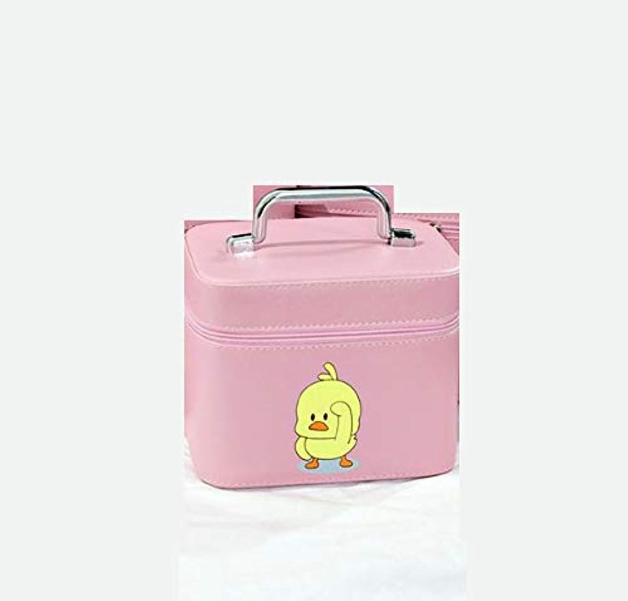 悪性の妨げる徹底化粧箱、大容量漫画アヒル化粧品ケース、ポータブル旅行化粧品ケース、美容ネイルジュエリー収納ボックス (Size : M)