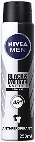 NIVEA MEN Invisible Black And White Power Aerosol Antiperspirant Deodorant Spray, 250 ml