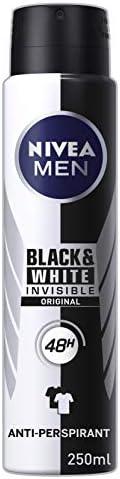 NIVEA MEN Invisible Black And White Power Aerosol Antiperspirant Deodorant Spray (250 ml), Men's Anti-Stai