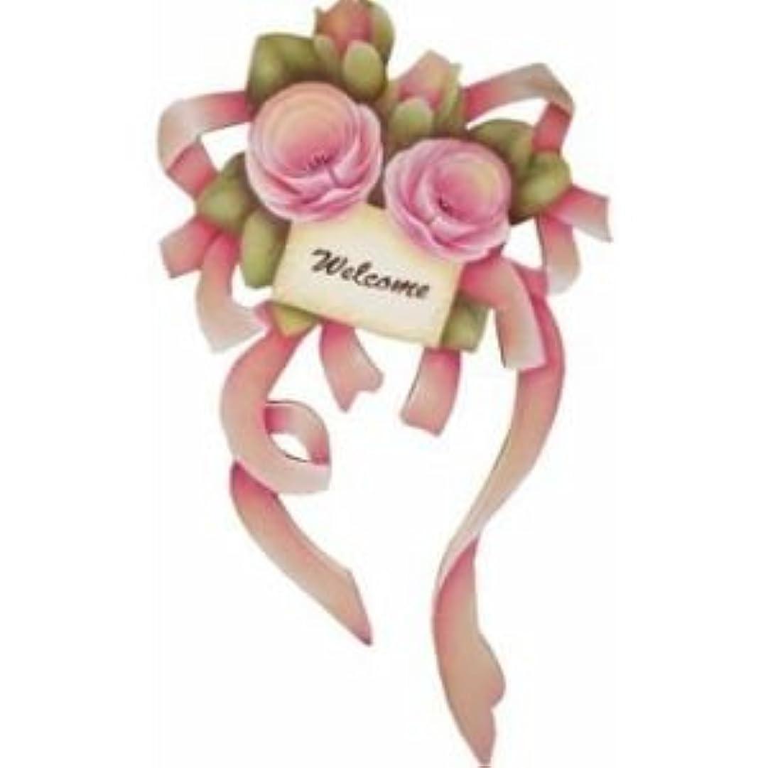 ポイント仕立て屋童謡トールペイント ご自分で描く図案付白木素材  cwhhp-004 バラのブーケ ピンク
