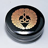 紀州塗り 2.5寸 香合入れ 黒 藤紋入