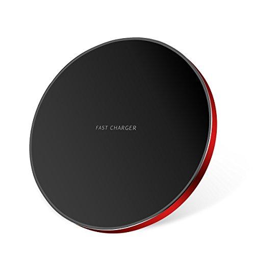 Aokeou ワイヤレス充電器 Qi チャージャー 軽量 ワイヤレスチャージャー 置くだけ充電 急速充電 Qi基準 iPhone 8 / 8plus / X Galaxy S9 / S9plus /S8 / S8plus / S7 / S7 Edge/Nexus / LG G6 / Xperia 他Qi規格対応 (レッド)