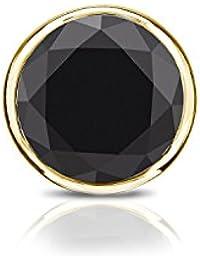 18 Kゴールドbezel-setラウンドブラックダイヤモンドメンズシングルスタッドイヤリング( 1 / 4 – 1 CT、ブラック) push-back