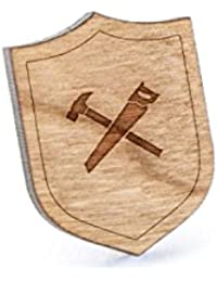 Hammer and Sawラペルピン、木製ピンとタイタック|素朴な、ミニマルGroomsmenギフト、ウェディングアクセサリー