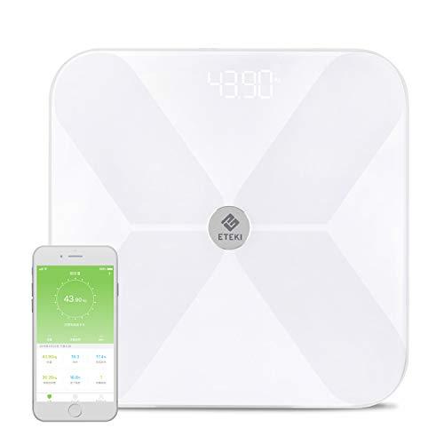 Eteki 体重計・体組成計 体脂肪計 Bluetooth対応 スマホ連動 BMI/体脂肪率/皮下脂肪/内臓脂肪/筋肉量/骨量/体水分率/基礎代謝量など測定可能 iOS/Androidアプリで健康管理 デジタル ヘルスケア同期 スマートスケール 乗るだけで電源ON (日本語対応APP&取扱説明書)