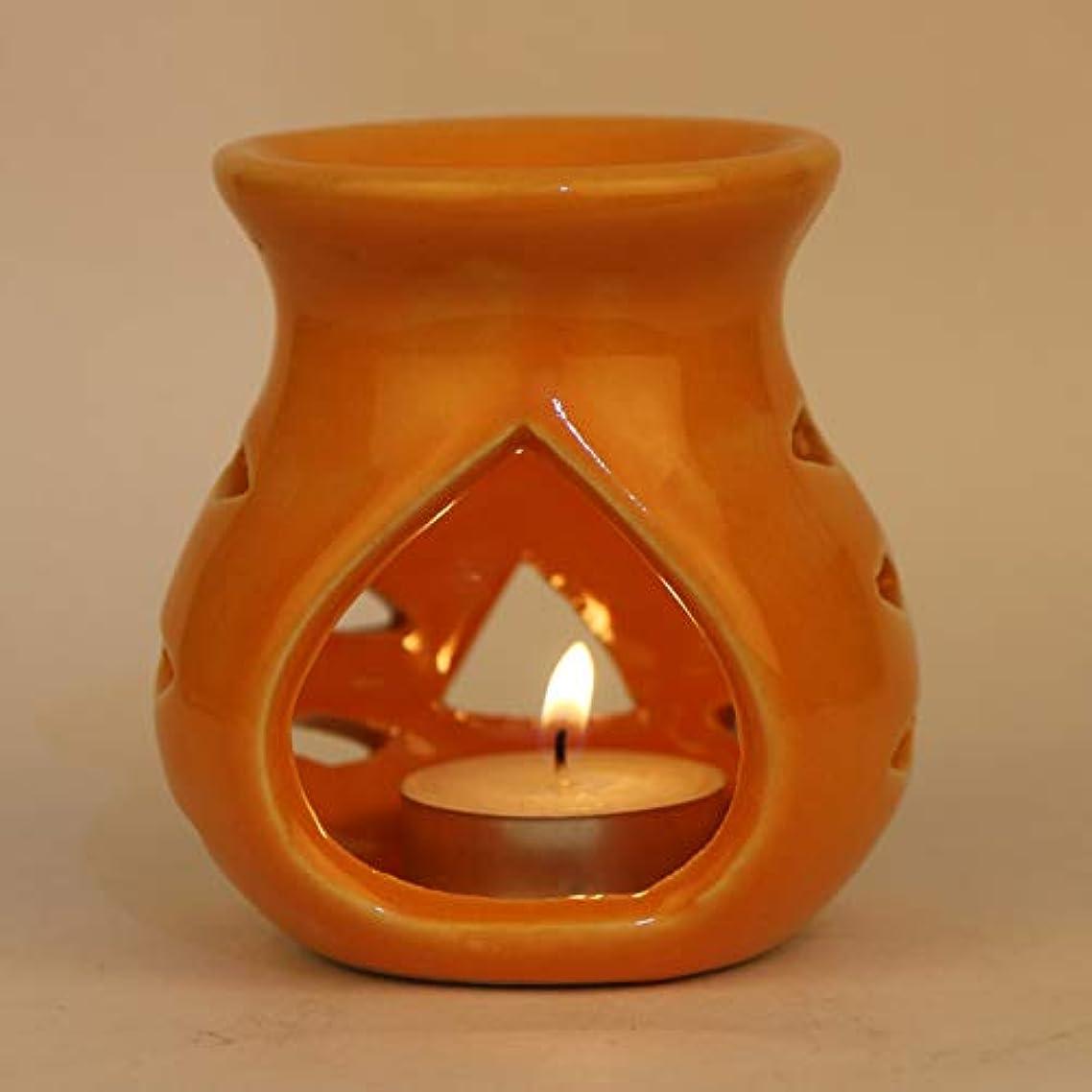 パネルわずかに正統派Pure Source India. セラミックアロマバーナーオレンジカラープレミアムカラーオレンジ、このアロマのサイズは高さ3.5インチ、直径3.5インチです。 (クレイランプ)