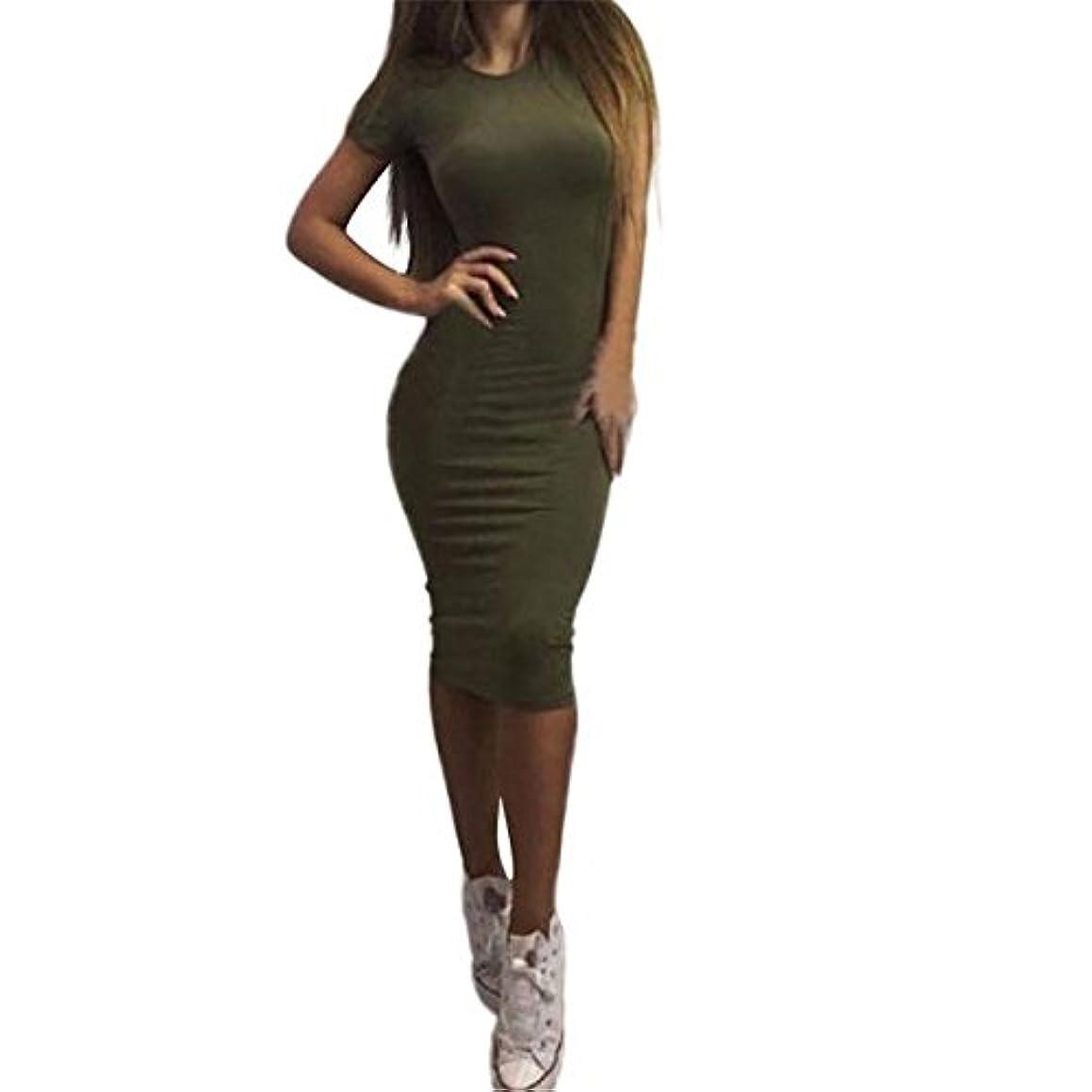 事件、出来事気になるダイヤルLutents レディース タイト ワンピース 無地 半袖 セクシー スリムドレス 着痩せ ワンピース ロング 細身 パーティー 二次会 結婚式に対応 (黒 グレー グリーン)S~XLサイズ
